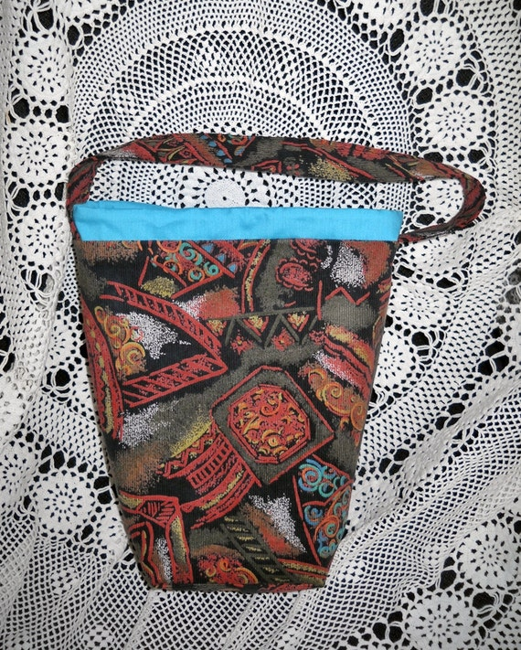 Corduroy knitting bag, project bag, crochet tote bag, WIP or KIP bag, Lined, Padded, Inside pockets