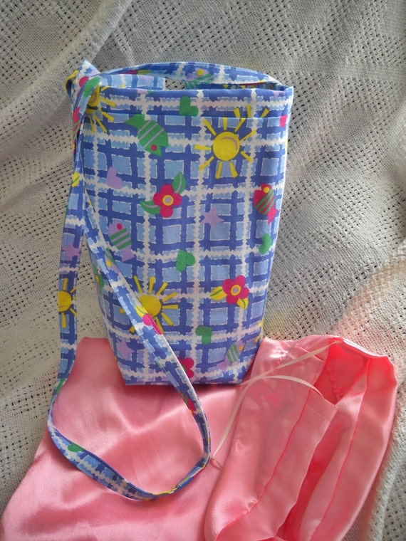 Drop Spindle Bag with Silky Insert Fiber Bag, Spin on the Go Bag, Blue Print Cotton, Spindle Pouch, Pockets, Padded, Drawstring SHIP Incl
