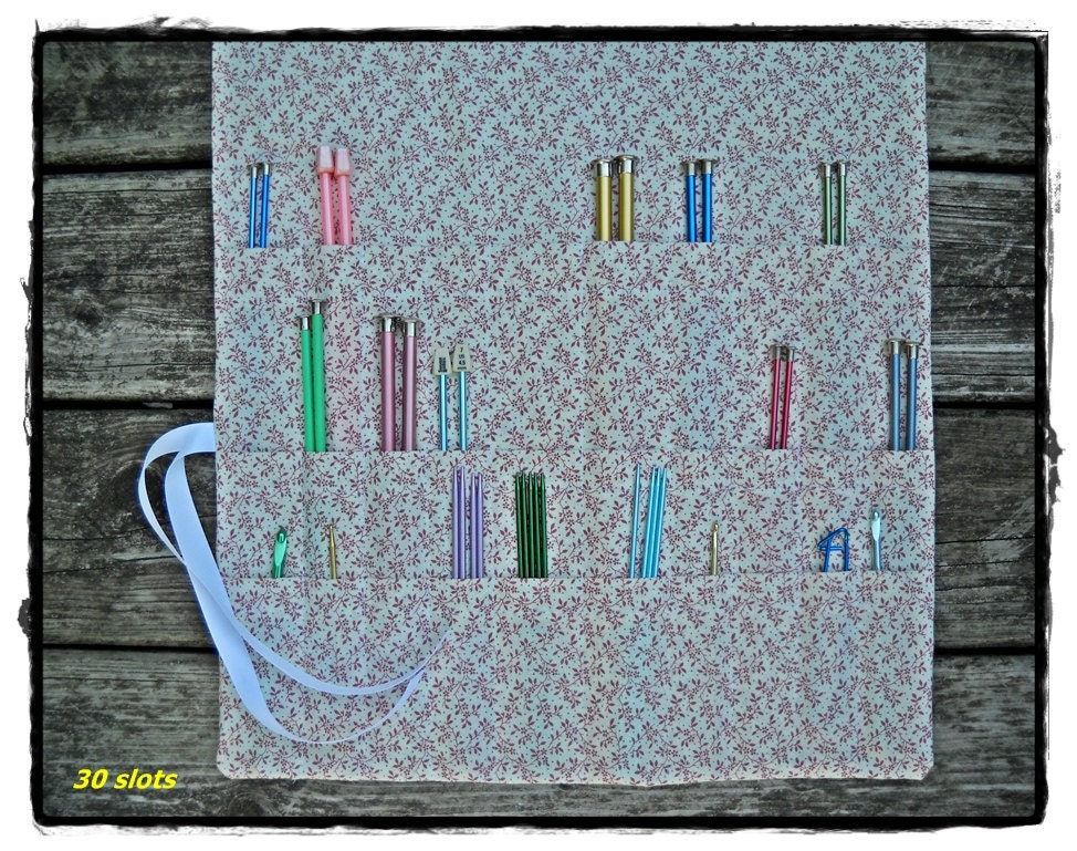 Knitting Needle Organizer Pattern : Knitting Needle Roll Up Case Organizer 30 Pockets by Funtific