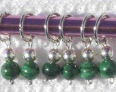 Malachite Stitch Markers - Fit Needles Size 0 - 7
