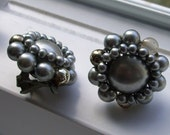 vintage gray synthetic pearl earrings with clip backs