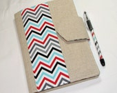 NEW style - Designer Carryall Clutch List taker  in Chevron Remix Ann Kelle - Nook Case Ereader  Kindle Cover with zipper pocket