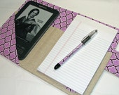 Kindle Cover New style - Designer Carryall Clutch List taker in Joel Dewberry Purple Trellis Nook Case Ereader Cove