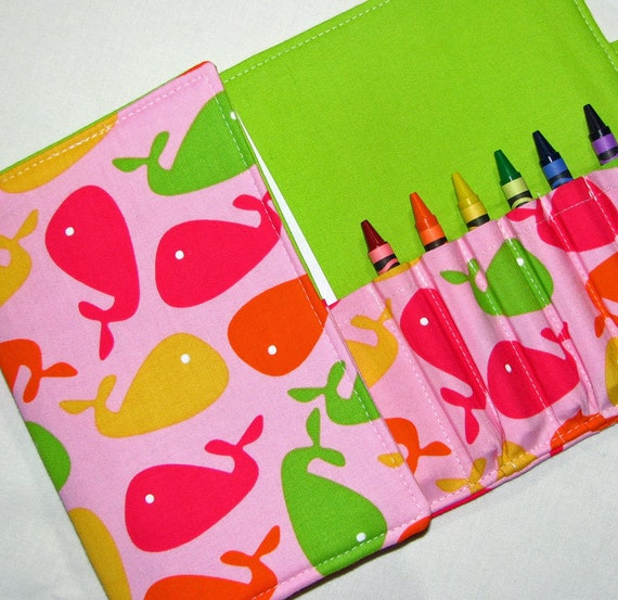 Crayon Wallet Pink Whales  Children's Coloring Hip Trendy Toddler Travel