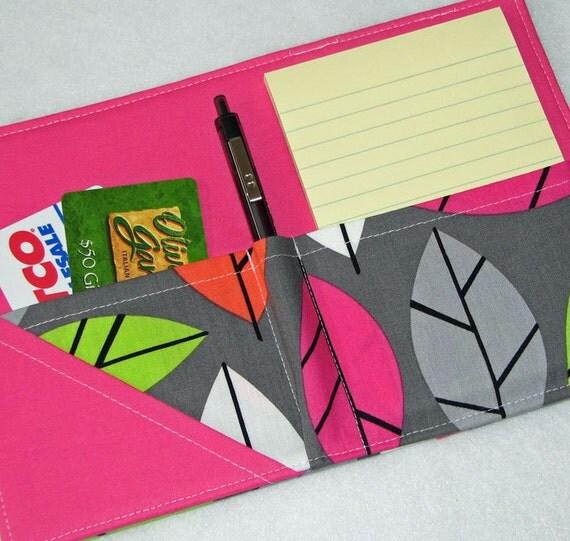 Mini Shopper - Notepad Clutch - Spring Leaves