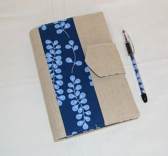 Kindle Cover NEW Style - Designer Carryall Clutch List taker  in Going Goastal Navy Vines Portfolio with zipper pocket - Ready to Ship