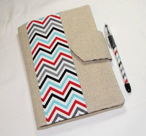 NEW style - Designer Carryall Clutch List taker  in Chevron Remix Ann Kelle - Nook Case Ereader  Kindle Cover with zipper pocket