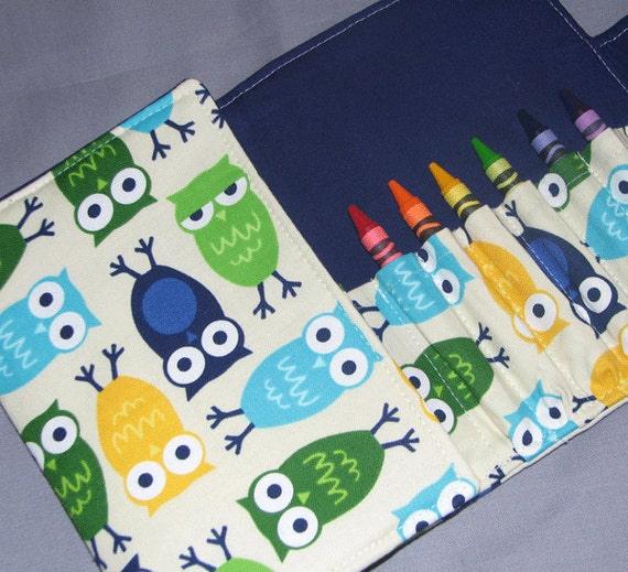 Crayon Wallet  OWLS in Blue -  Coloring Wallet Hip Trendy Toddler Travel