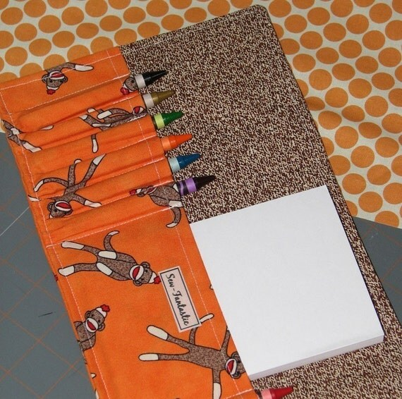 Crayon wallet Hip Trendy toddler travel ORANGE SOCK MONKEYS 12 Crayons and Notebook Included (SPECIAL BUY 1 GET 1 HALF PRICE)
