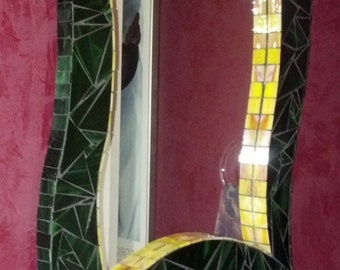Stained Glass Mosaic Mirror Malachite  Yellow Interior Trim