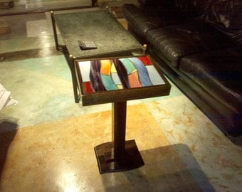 Ebonized Oak Mosaic End Table