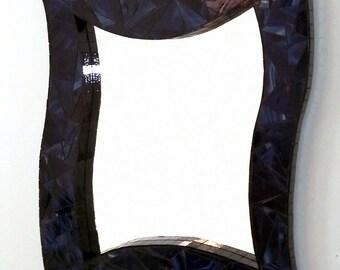 Modern Blue Black Trim Mosaic Mirror 20 inch by 24 inch