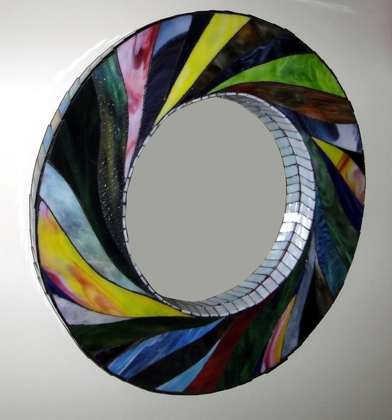 22 inch Swirling Stained Glass Mosaic Mirror
