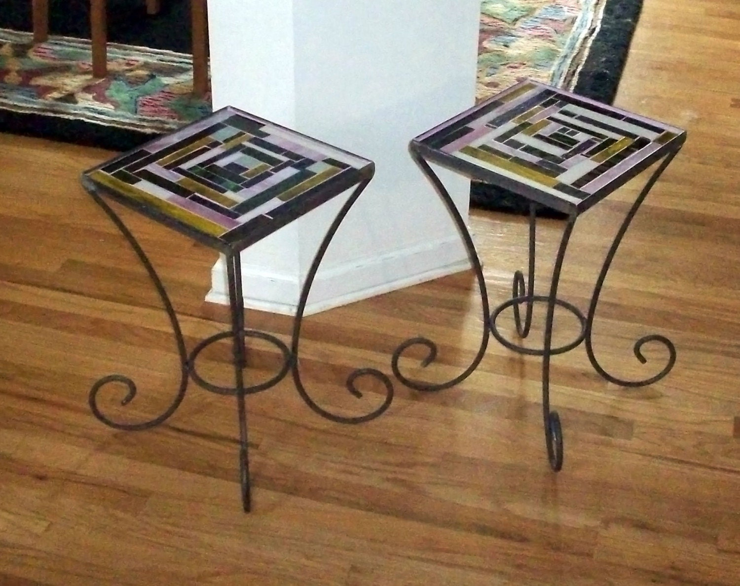 Stained glass wrought iron mosaic end tables for Wrought iron and glass side tables