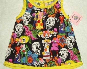 Day of the Dead - Sugar Skull Clothing - Yellow Black - Punk Rock Baby - Baby - Girl - Dress 3M-12M