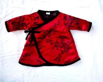 ON SALE - Japanese Clothing - Toddler Dress-  Long Sleeve Dress -  RED Cherry Blossom - Kimono Dress - Girls Dress - Size 3t - Ready to Ship