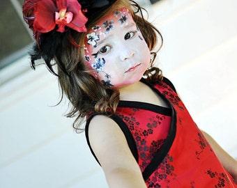 Red Girl Dress - Cherry Blossom Dress - Flower Girl Dress - Punk Baby Dress - Asian Baby Clothes - sizes Newborn to 18M
