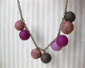 Clay round necklace, pink and fucsia necklace, gift under 25