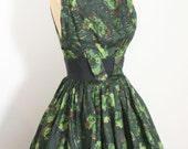 1950s green floral dress / 50s full sweep dress