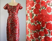 1950s Jeanette Alexander wiggle dress / 50s red floral print satin dress
