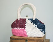 50s color block raffia handbag / 1950s white straw box bag / pink / navy blue / burgundy
