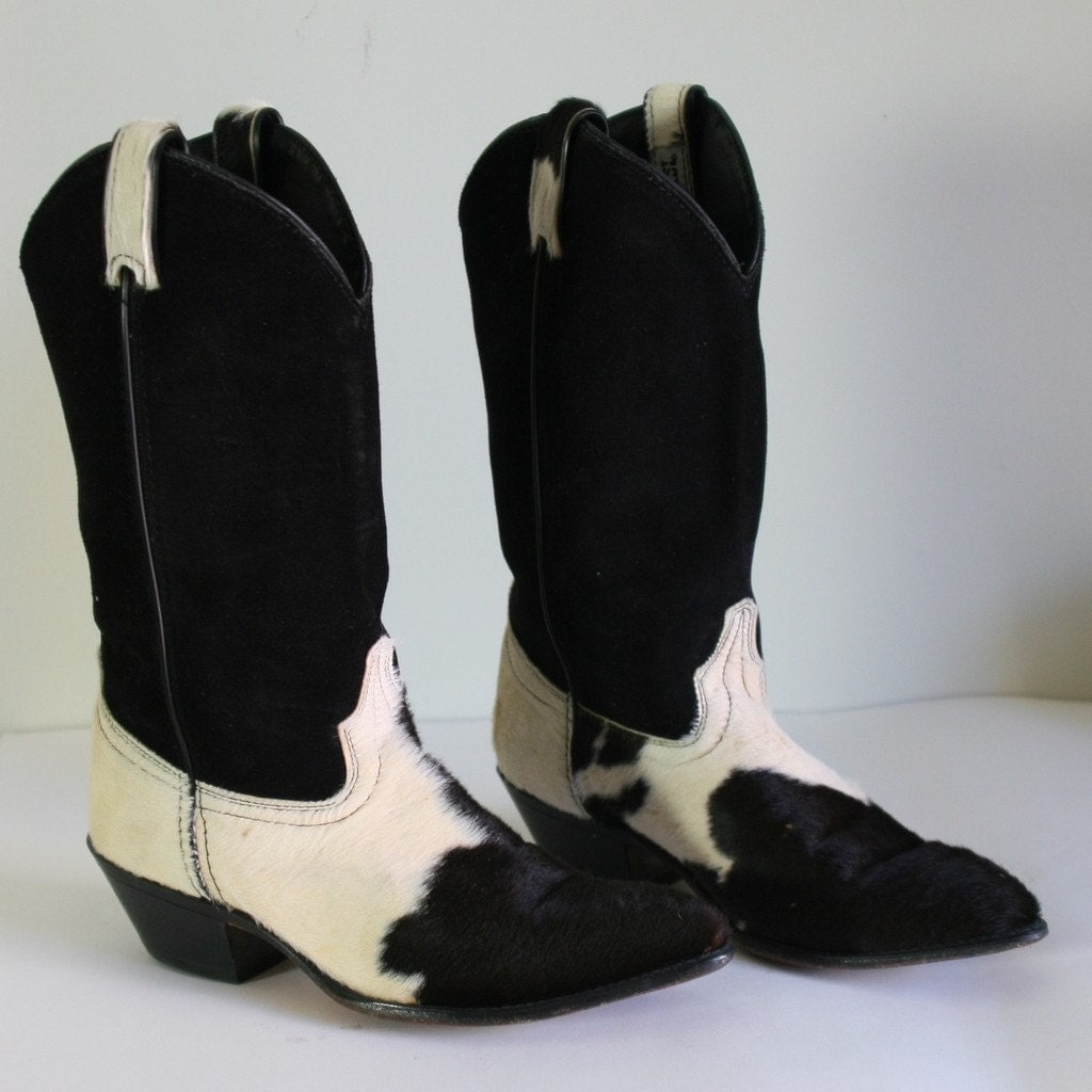 80s Genuine Cowhide And Black Suede Western Cowboy Boots Sz