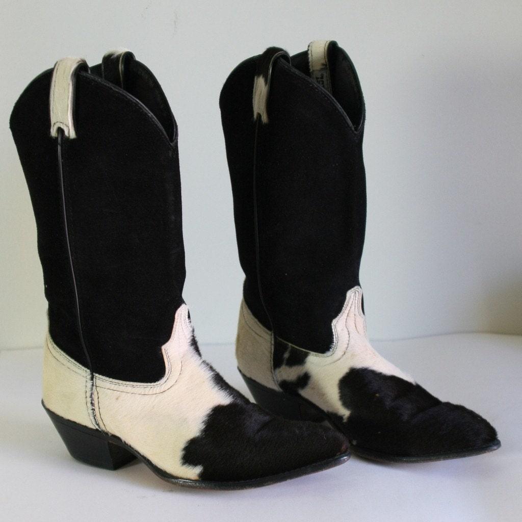 80s Genuine Cowhide And Black Suede Western Cowboy Boots Sz