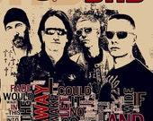 Print U2 music typography poster  Birthday Gift art  illustration rock band print canvas  giclee