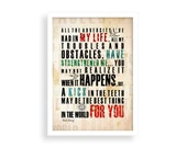 Print  typography Walt Disney quote Birthday Gift art home, office decor Inspiring positive About Life on canvas peach ivory sepia colors