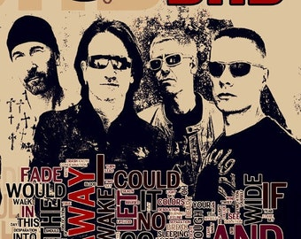 Print U2 music typography poster  Birthday Gift art  illustration rock band print canvas  giclee