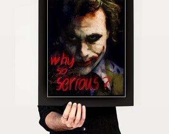 Print The Joker illustration portrait Canvas   Birthday Gift Art Print Heath Ledger black red Mixed Media why so serious quote  giclee