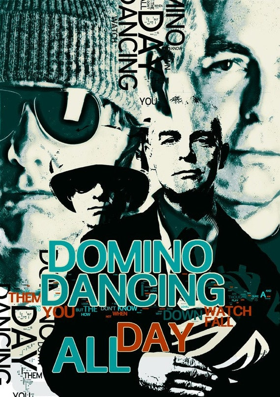 Print Poster Pet Shop Boys  Birthday Gift art print Domino Dancing cotton canvas  Wall Decor green typography giclee