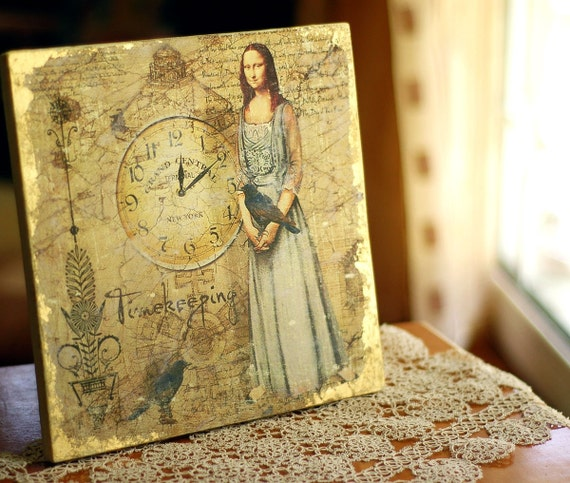 MONA TIMEKEEPER  - MIXED MEDIA ART ON WOOD PANEL - SIZE 10 INCHES X 10 INCHES - recycled  wood panel - PAINTING ,ACRYLICS, GOLD LEAFING AND silkscreen - One of a Kind Art