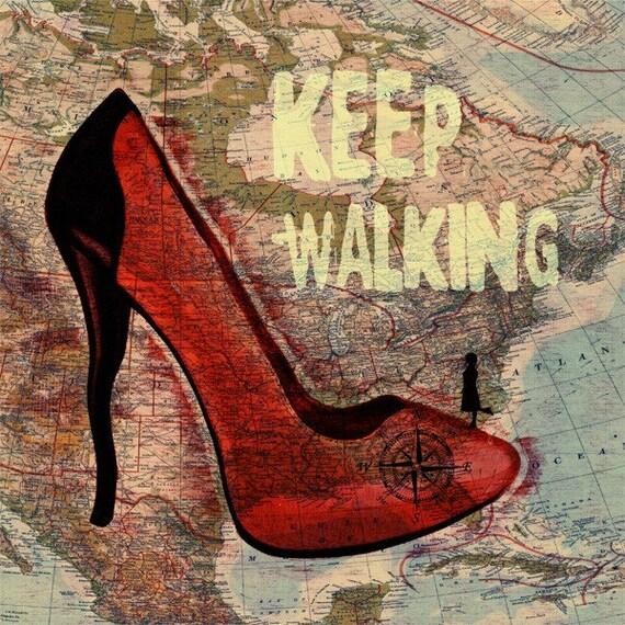 Print Women Shoes  Birthday Gift art Keep Walking  map usa canada red high heels  Illustration Wall Decor giclee