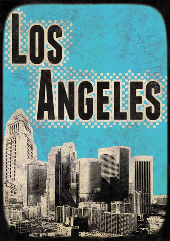 Print Los Angeles City Poster print Cityscape Mixed Media  Birthday Gift art on canvas Handmade Wall Decor typography print