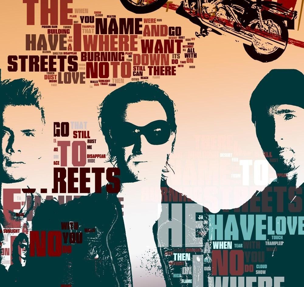 Print U2 Music Poster Birthday Gift Art Work Where The