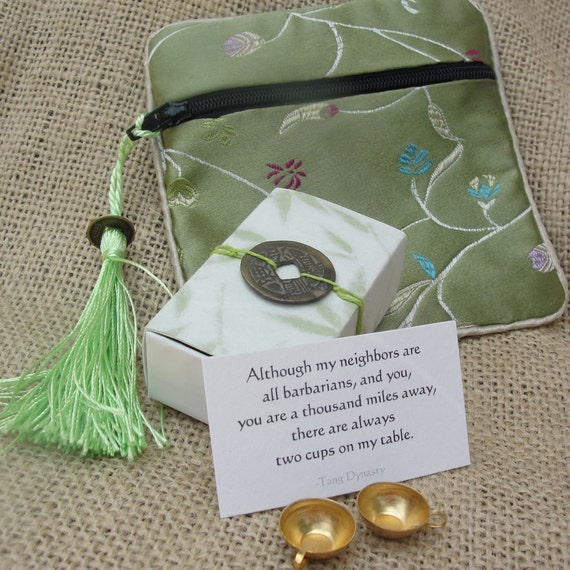 Green Bamboo Two Cups Message Box