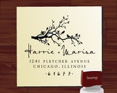 Custom  Personalized   SELF - INKING   address  or save the date rubber stamp with bird on swirl branch cute  wedding  gift - style 1240D