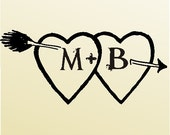 Heart with initials etched inside monogram wood handle  mounted stamp - custom wedding stationary