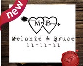 Wedding monogram custom rubber stamp  SAVE the DATE  wood handle rubber stamp - old type -great wedding gift  - style 7022