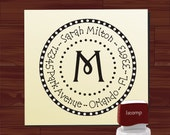 Self Inking Address Stamp - Personalized Address Stamp - Monogram Polka Dot Syle - (1140)