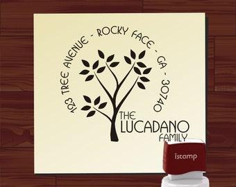 Custom Address Stamp, Olive Tree Family Stamp, Personalized Envelope Name Address Round Self Inking Return Address Rubber Stamp - 1168