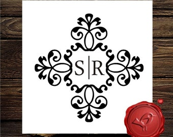 NEW Design Custom  Personalized  MONOGRAM INITIAL wood handle  rubber stamp cute  wedding  gift - style 7013