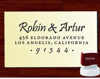 Calligraphy Address Stamp, Self Inking Return Address Rubber Stamp, Envelope Addressing Stamp - 1280S