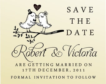 SAVE THE DATE Self  Iinking Stamp -style 6008  - custom wedding stationary