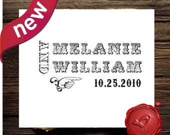 Custom stamp vntage style  save the date - address  rubber stamp - old type- wood handle stamp  - personalized wedding gift  - style HS1300