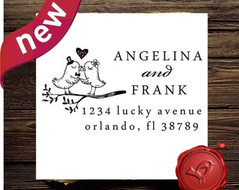 Custom  Personalized wood handle address  or save the date rubber stamp with love birds on a swirl branch - style HS 1295