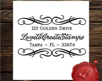 Custom  Personalized   wood handle address  rubber stamp cute  wedding  gift - style 9008
