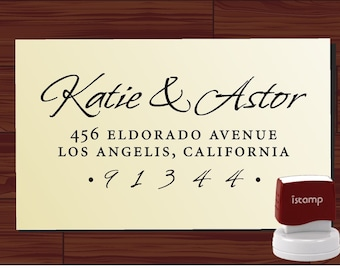Calligraphy Address Stamp - Pre Inked Self Inking Return Address Stamp - Style 1280 by LoveToCreateStamps