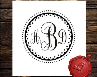 3 Letter Monogram Stamp - Custom wood handle rubber stamp - Save the Date wedding favor - style 7001